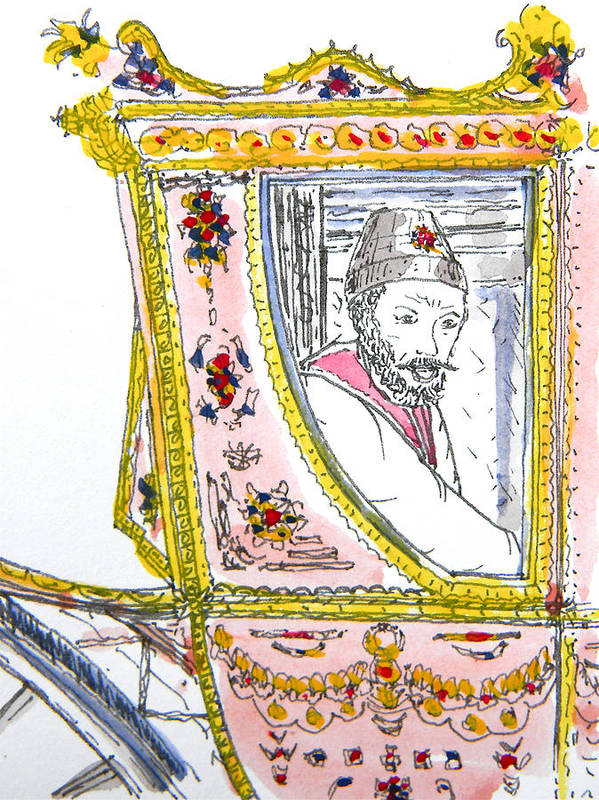 Maiden Wiser Than The Tsar Poster featuring the drawing Tsar In Carriage by Marwan George Khoury