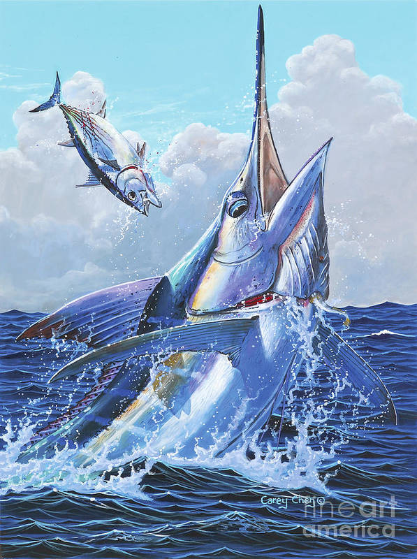 Marlin Poster featuring the painting Unexpected Off0093 by Carey Chen