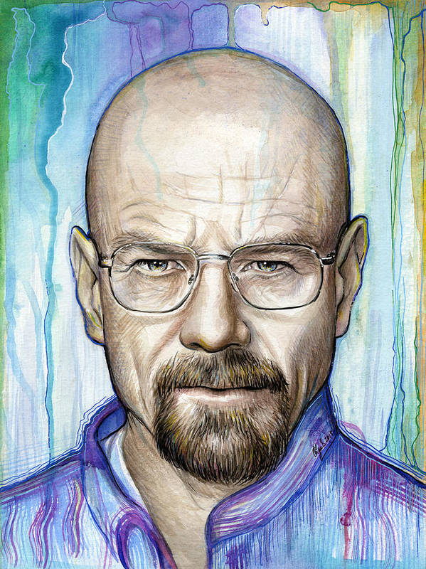 Breaking Bad Poster featuring the painting Walter White - Breaking Bad by Olga Shvartsur