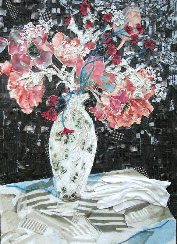 Flowers In A Vase Poster featuring the mixed media White Glove by Diane Fine