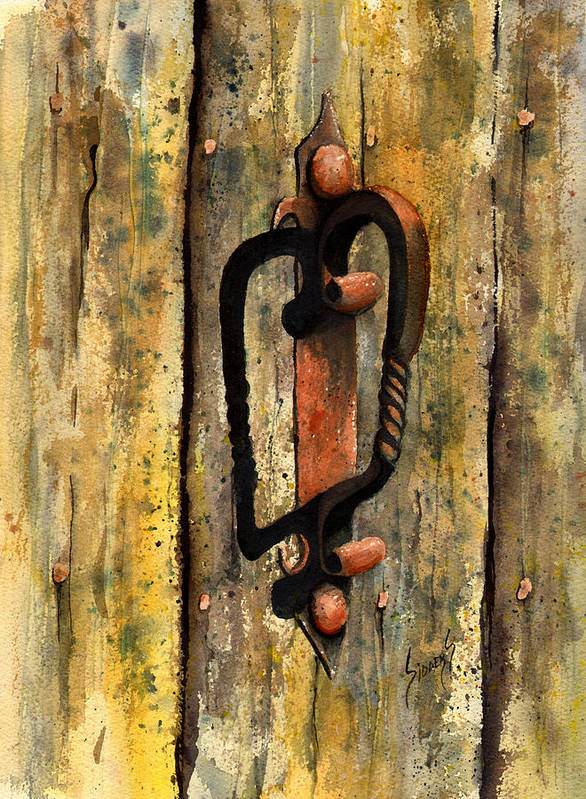 Rust Poster featuring the painting Wrought Iron Handle by Sam Sidders