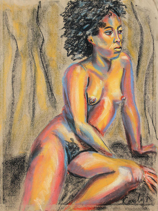 Nude Pastel Painting Poster featuring the pastel Young Woman Resting And Contemplating by Asha Carolyn Young