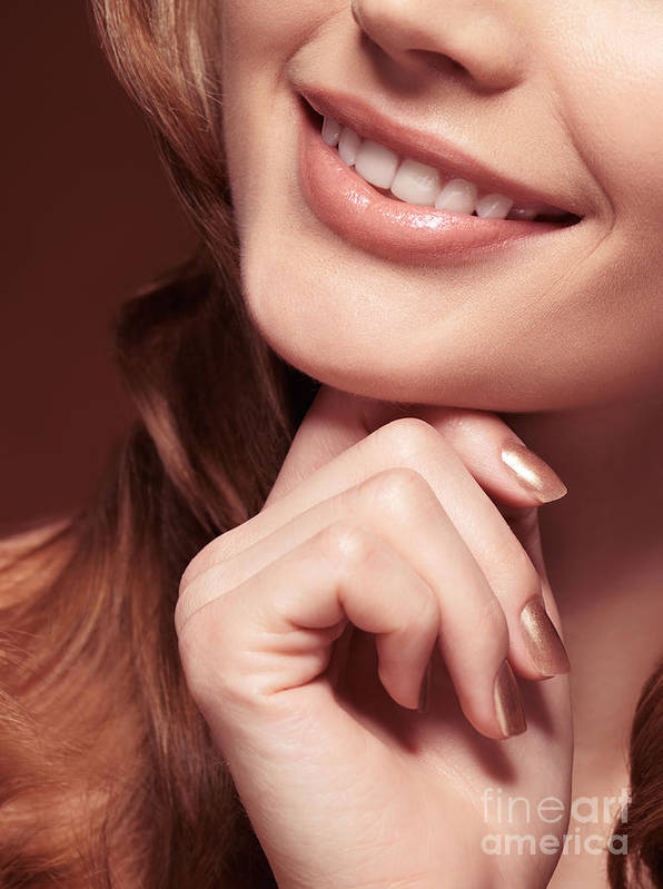 Mouth Poster featuring the photograph Beautiful Young Smiling Woman Mouth by Oleksiy Maksymenko