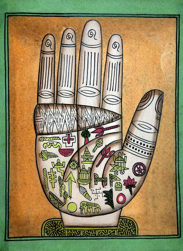 Hand Poster featuring the photograph Indian Palmistry Map by Victor De Schwanberg