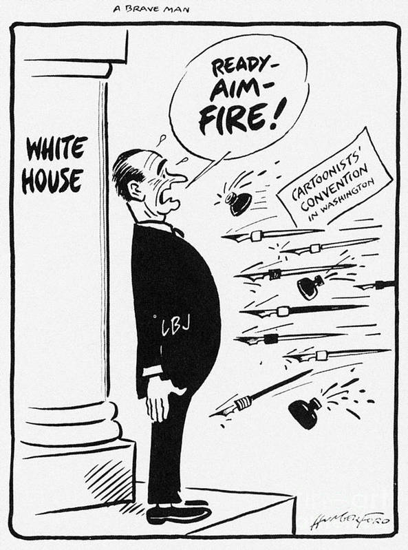 1960s Poster featuring the photograph Lyndon B. Johnson: Cartoon by Granger