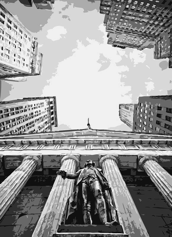 New York Financial Distrist Poster featuring the photograph Nyc Looking Up Bw6 by Scott Kelley