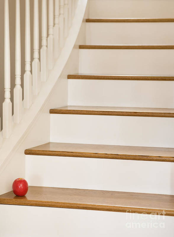 Apple Poster featuring the photograph Stairs And Apple by Andersen Ross