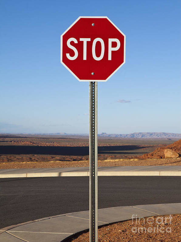 Arid Poster featuring the photograph Stop Sign In The Desert by Paul Edmondson