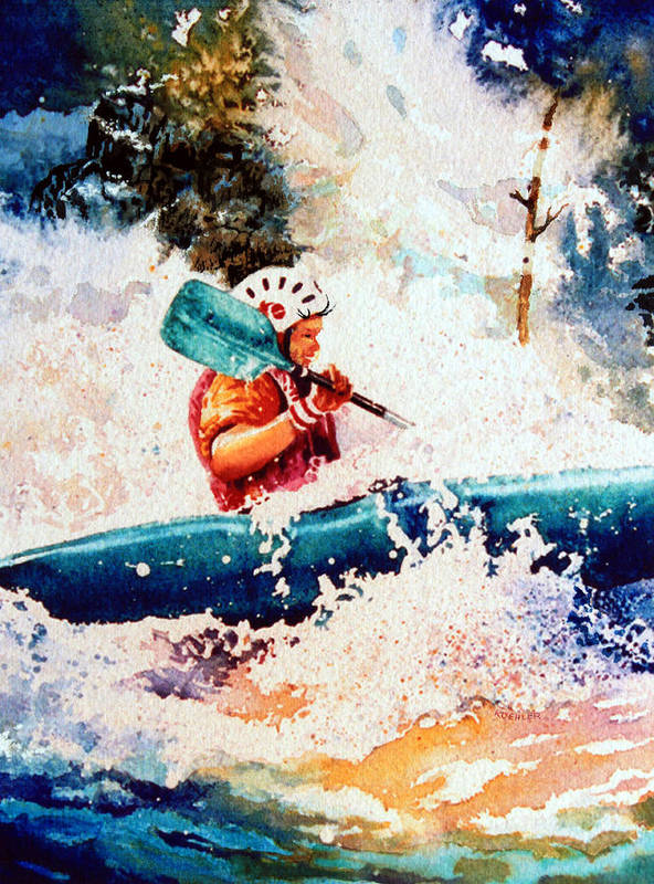 Olympic Picture Book Poster featuring the painting The Kayak Racer 18 by Hanne Lore Koehler