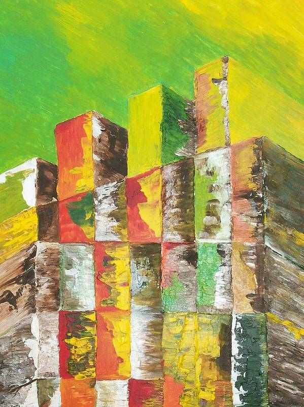 Abstract Poster featuring the painting The Old Stack Of Wood by Roy Penny