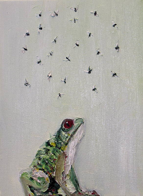 Frog Poster featuring the painting To Save Their Small Lives From Surrounding Death by Fabrizio Cassetta