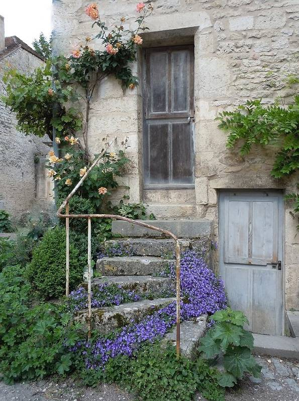 Europe Poster featuring the photograph French Staircase With Flowers by Marilyn Dunlap