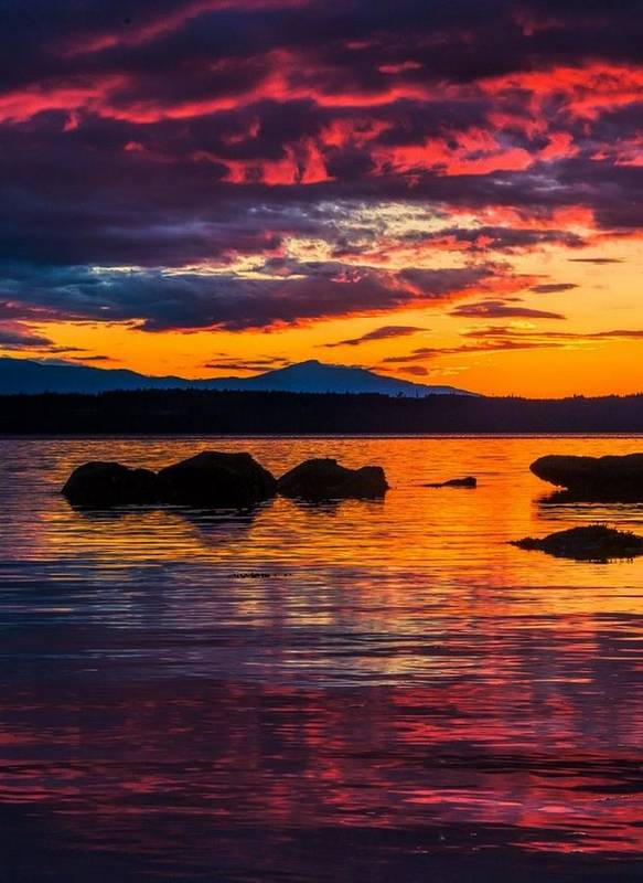 Sunset Yellow Orange Red Water Stones Sky Scenery Beautiful Breathtaking Poster featuring the photograph Sunset by Sarah Waldman