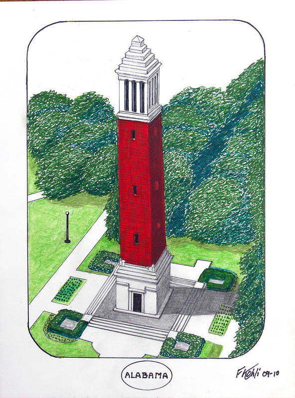 Alabama University Buildings Drawings Poster featuring the drawing Alabama by Frederic Kohli