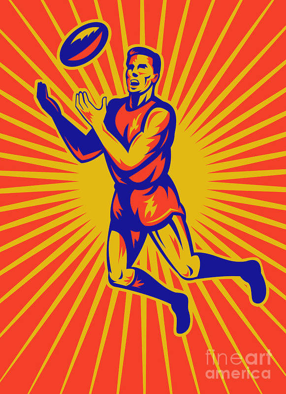 Aussie Rules Poster featuring the digital art Aussie Rules Player Jumping Ball by Aloysius Patrimonio