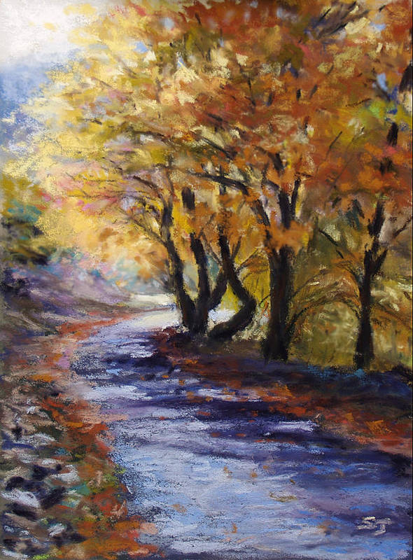 Landscape Poster featuring the pastel Autumn Road Home by Susan Jenkins