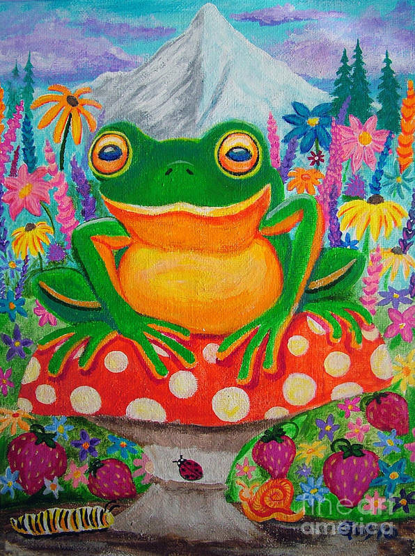 Frog Poster featuring the painting Big Green Frog On Red Mushroom by Nick Gustafson