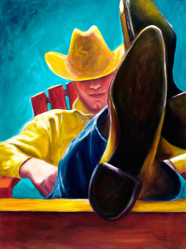 Western Poster featuring the painting Break Time by Shannon Grissom