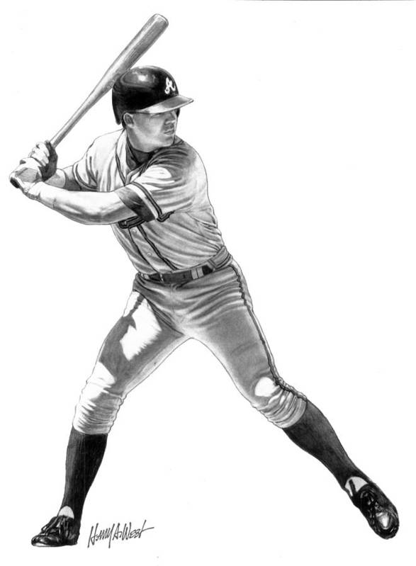 Chipper Jones Poster featuring the drawing Chipper Jones by Harry West