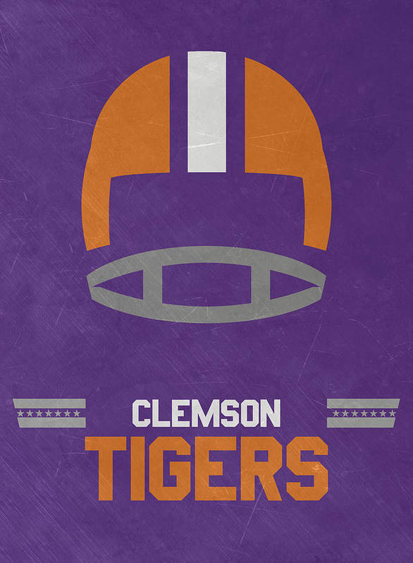 Tigers Poster featuring the mixed media Clemson Tigers Vintage Football Art by Joe Hamilton