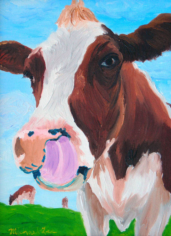Cow Poster featuring the painting Cow Picking His Nose by Michael Lee