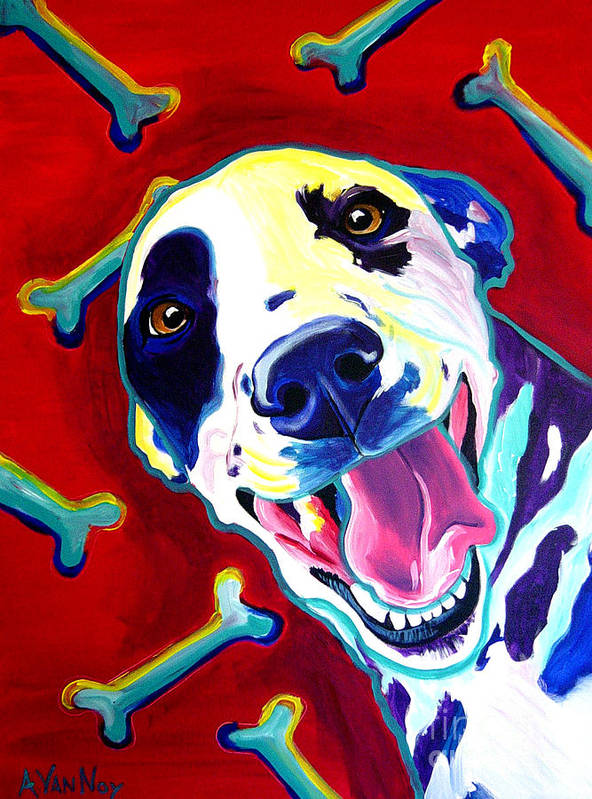 Dog Poster featuring the painting Dalmatian - Yum by Alicia VanNoy Call