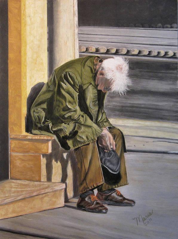 Man Poster featuring the pastel Despair by Maris Sherwood