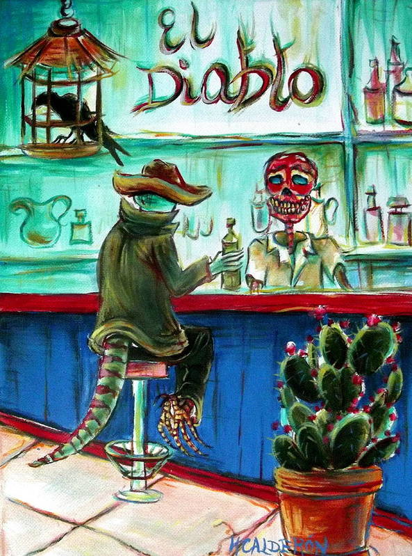 Day Of The Dead Poster featuring the painting El Diablo by Heather Calderon