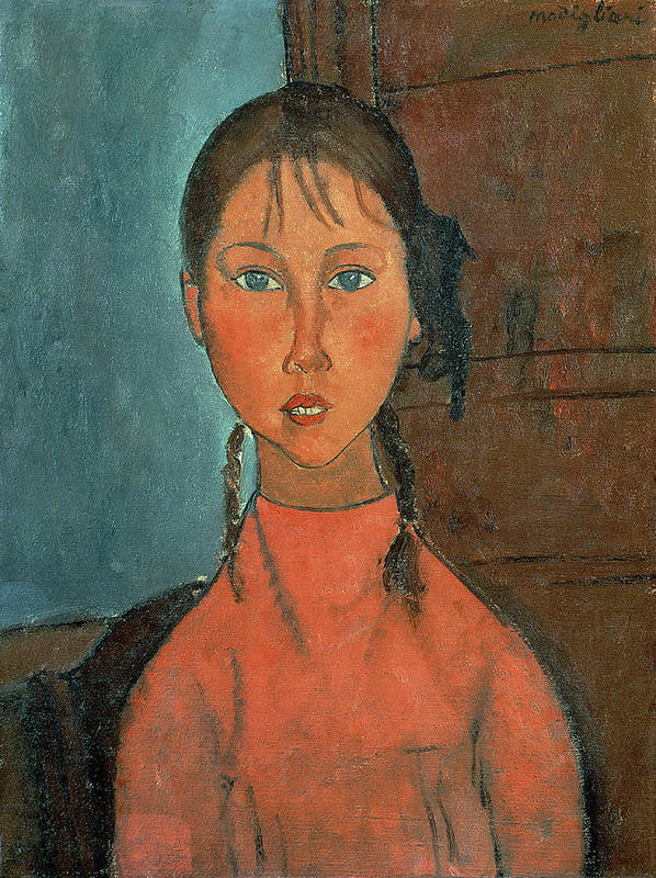 Girl With Pigtails Poster featuring the painting Girl With Pigtails by Amedeo Modigliani