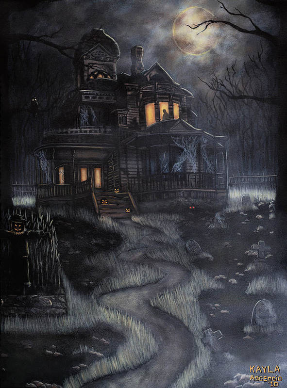 Haunted House Poster featuring the painting Haunted House by Kayla Ascencio