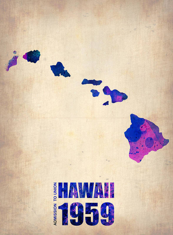Hawaii Poster featuring the digital art Hawaii Watercolor Map by Naxart Studio