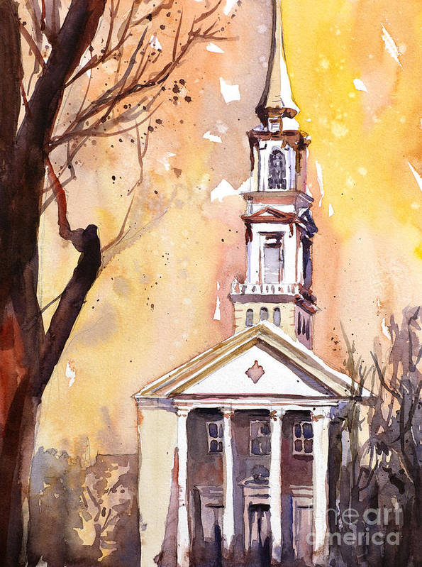 Art Prints Poster featuring the painting Hayes Barton Church Raleigh Nc by Ryan Fox