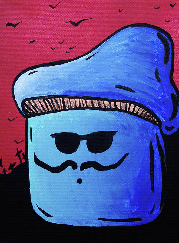 Hipster Poster featuring the painting Hipster Mushroom by Jera Sky