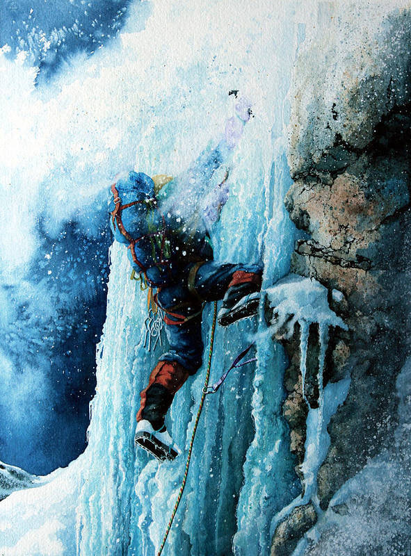 Sports Art Poster featuring the painting Ice Climb by Hanne Lore Koehler