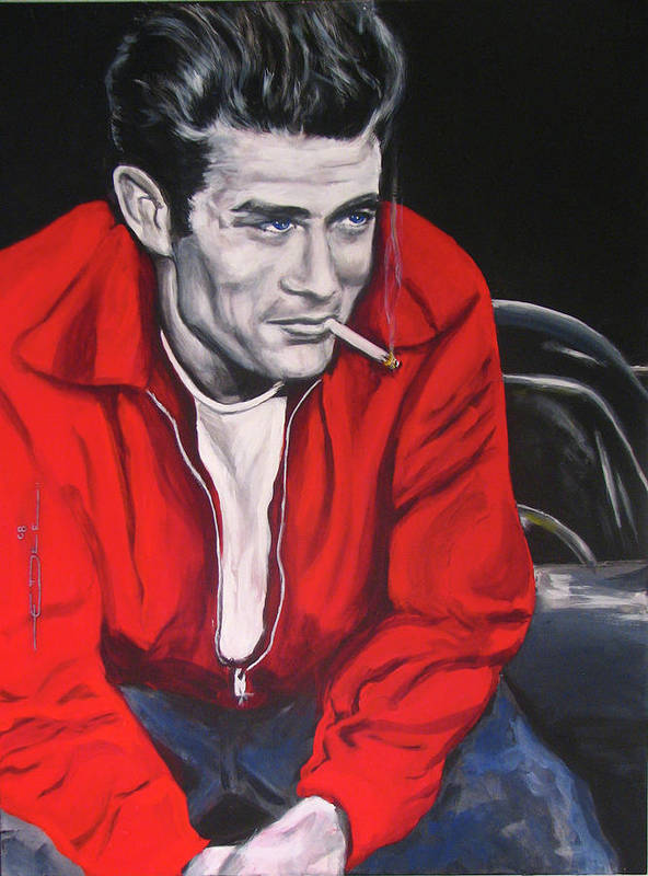 James Dean Poster featuring the painting James Dean - Picture In A Picture Show by Eric Dee