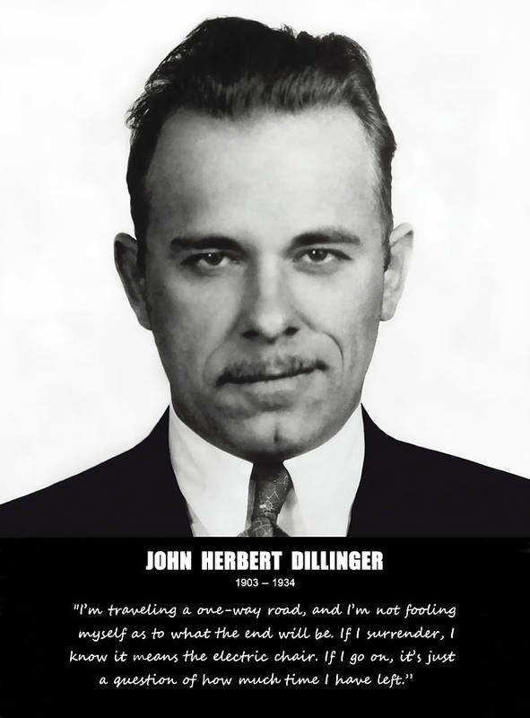 Dillinger Poster featuring the photograph John Dillinger -- Public Enemy No. 1 by Daniel Hagerman