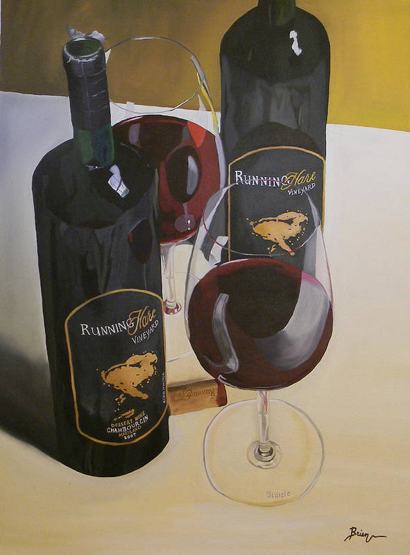 Wine Art Paintings Poster featuring the painting Just The 2 Of Us by Brien Cole
