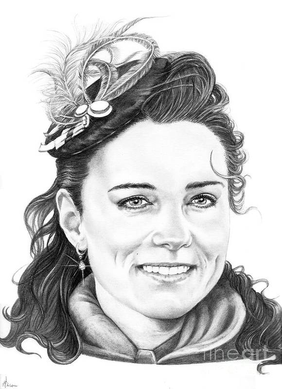 Drawing Poster featuring the drawing Kate Middleton by Murphy Elliott