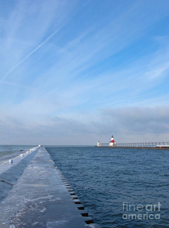 Pier Poster featuring the photograph Lake Michigan Winter by Ann Horn