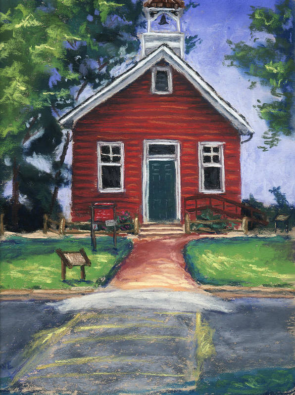 Little Red Schoolhouse Poster featuring the pastel Little Red Schoolhouse Nature Center by Christine Camp