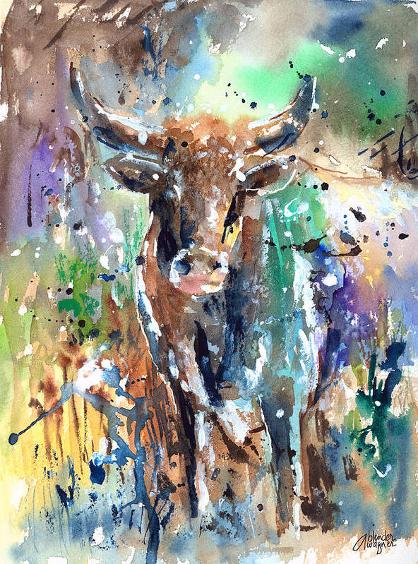 Animal Poster featuring the painting Longhorn Steer by Arline Wagner