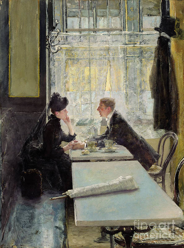 Lovers In A Cafe (panel) By Gotthardt Johann Kuehl (1850-1915) Poster featuring the painting Lovers In A Cafe by Gotthardt Johann Kuehl