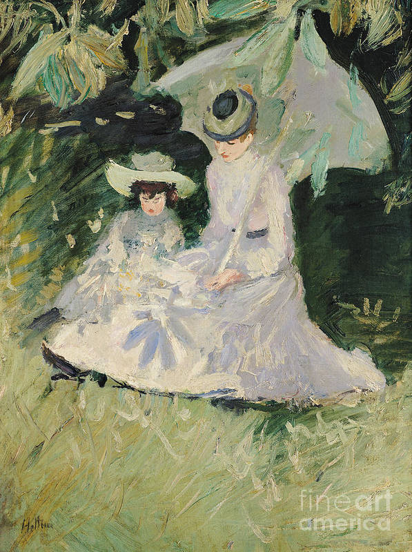 Madame Poster featuring the painting Madame Helleu And Her Daughter At The Chateau Of Boudran by Paul Cesar Helleu