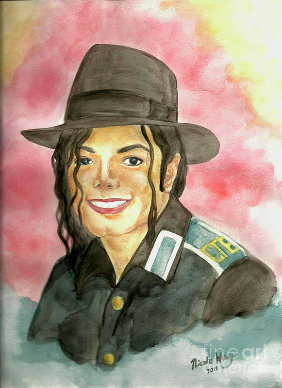 Michael Jackson Poster featuring the painting Michael Jackson - A Bright Smile Shining In The Sky by Nicole Wang