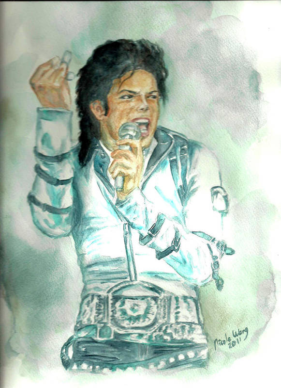 Michael Jackson Poster featuring the painting Michael Jackson Bad Tour by Nicole Wang