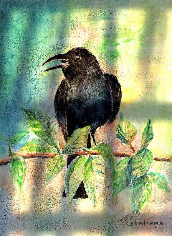 Raven Poster featuring the painting On The Outside Looking In by Arline Wagner