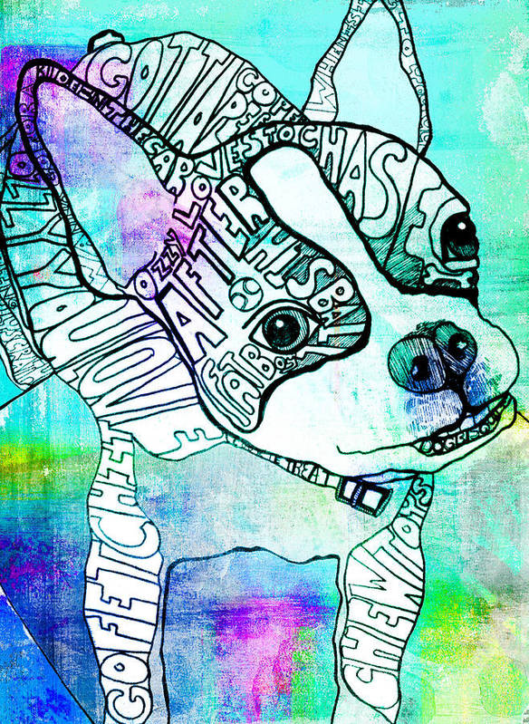Boston Terrier Poster featuring the painting Ozzy Boy Blues by Robin Mead