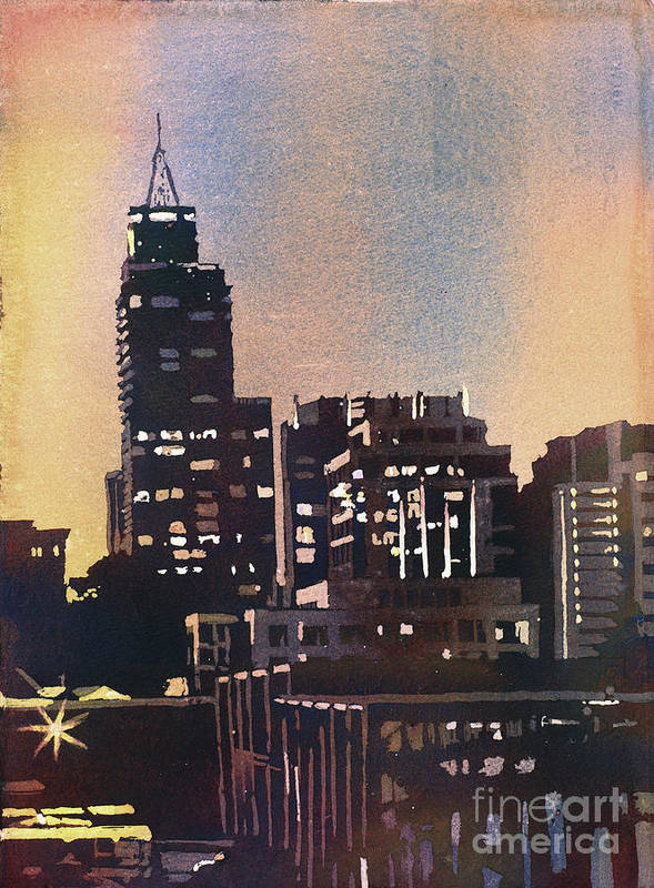 Automobile Poster featuring the painting Raleigh Skyscrapers by Ryan Fox