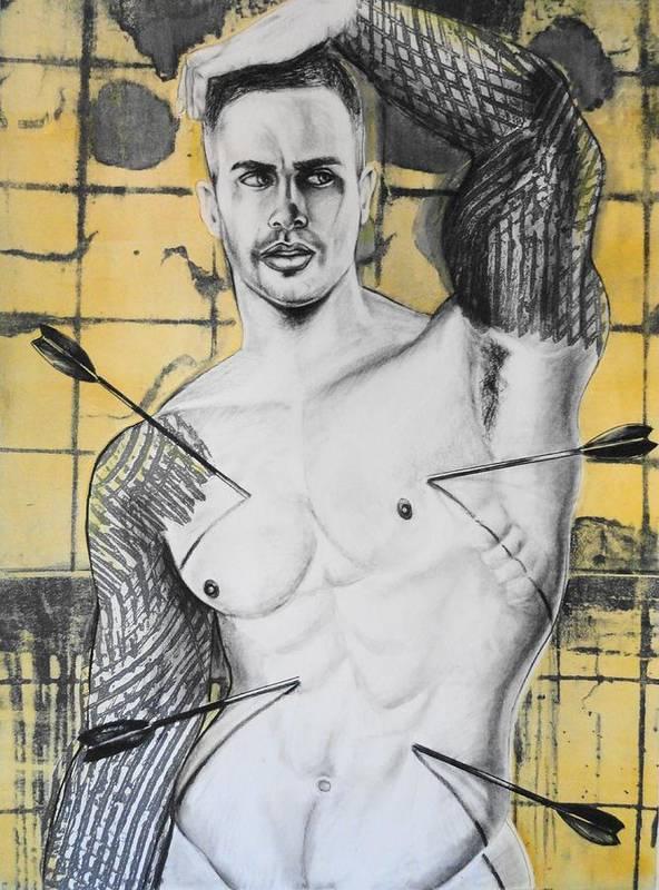 Gay Male Art Poster featuring the drawing Saint Sebastian by Carmine Santaniello