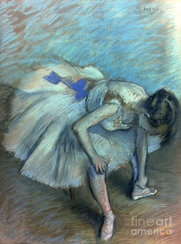 Seated Dancer Poster featuring the pastel Seated Dancer by Edgar Degas